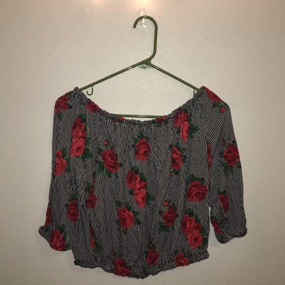 Tops - Off The Shoulder Rose Top